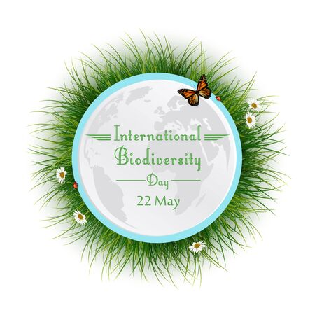 biodiversity: Vector illustration of Natural frame with grass circle for International Biodiversity Day Illustration