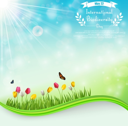 biodiversity: Vector illustration of Biodiversity meadow background with tulip flowers and butterflies