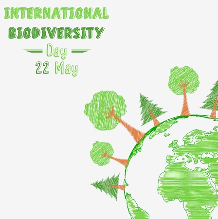 thunderstorms: Biodiversity international day with shape paintings Illustration