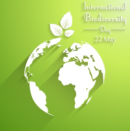 biodiversity: International biodiversity day background with leaves of shape silhouettes Stock Photo