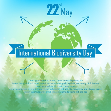 biodiversity: Biodiversity background with palm trees, silhouette earth and ribbon Illustration