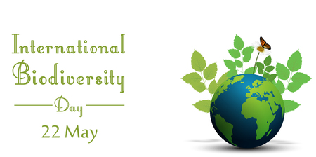 Ribbon shape with leaves and butterflies on earth for international biodiversity day