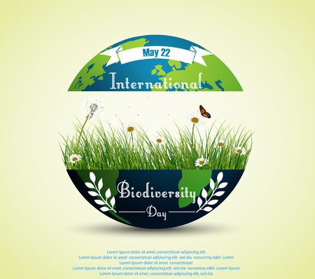 biodiversity: Green grass and flowers inside earth for International biodiversity day background