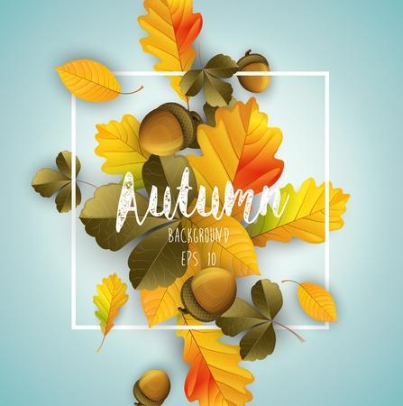 Vector illustratie van bladeren herfst achtergrond geïsoleerd blauwe achtergrond
