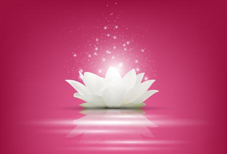 Vector illustratie van Magic White Lotus bloem op roze achtergrond Vector Illustratie