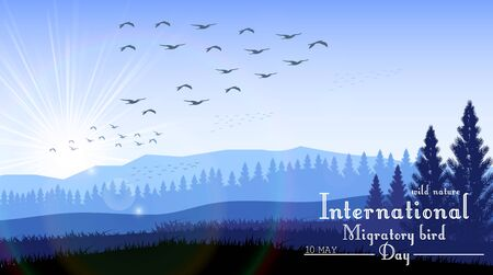migratory: Vector illustration of Birds migratory day with mountains and palm tree on sunrise background Illustration