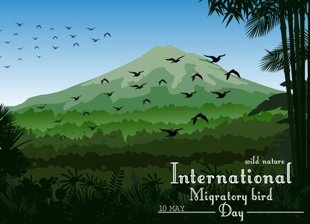 migratory: Mountains landscape of tropical background with flying birds for Birds migratory day