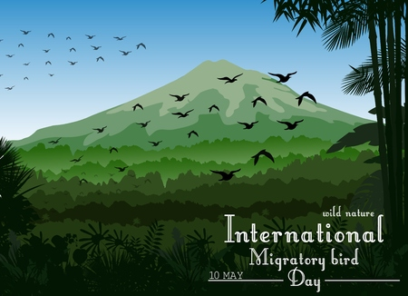 migratory: Vector illustration of Mountains landscape of tropical background with flying birds for Birds migratory day Illustration