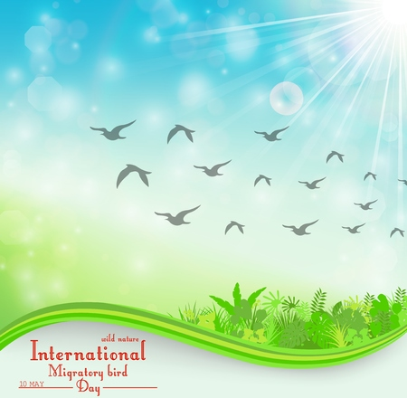 Vector illustration of Birds migratory day background with foliage and space for text Illusztráció