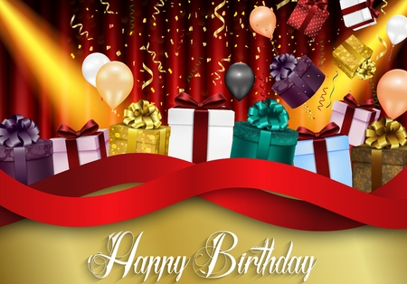 curtain background: Birthday background of party with color balloons and gift boxes on red curtain background