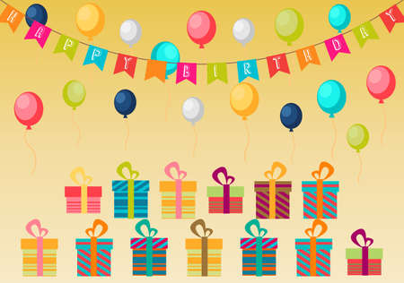 suprise: Vector illustration of Birthday background of party with color balloons and gift boxes on brown background