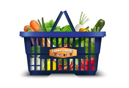 vegetable basket: Natural organic vegetable in shopping basket with cauliflower and broccoli and carrots Stock Photo