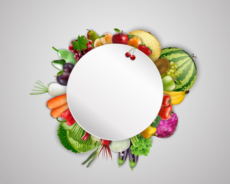 Empty plate with fruits and vegetables
