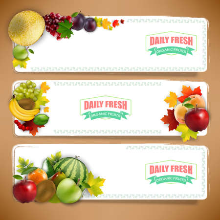 organically: Organically fruits banners with autumn leaves Stock Photo