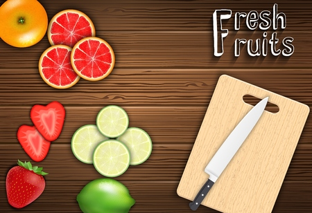 cutting board: Fresh fruits slices on the table with a knife on a cutting board background Stock Photo