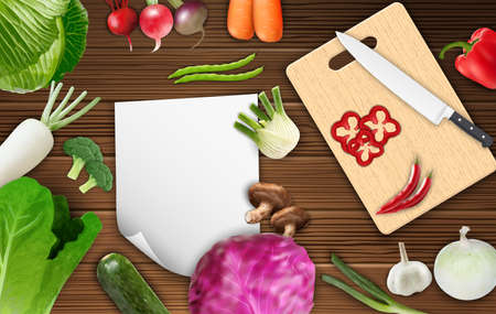 cutting board: Vegetables on the table with paper and cutting board