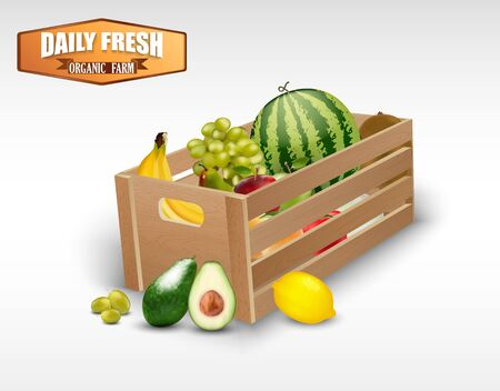 crates: Fresh fruits in wooden crates on a white background Illustration