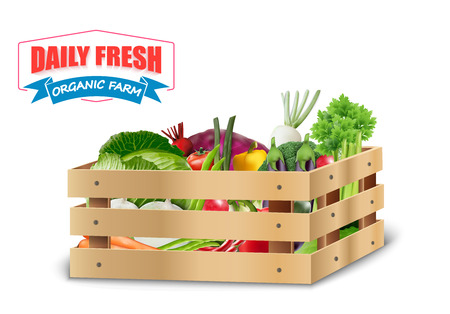 crates: Fresh vegetable in wooden crates with blue ribbon on a white background