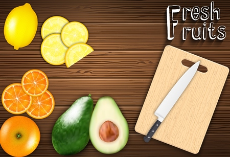 cutting board: Fresh fruits slices on the table with a knife on a cutting board background Illustration