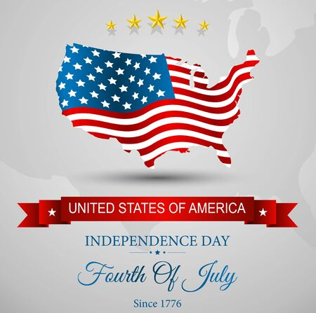 american history: American Flag map for Independence Day