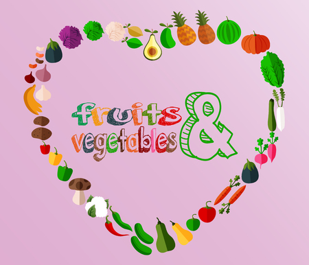 Heart with different fruits and vegetables icons