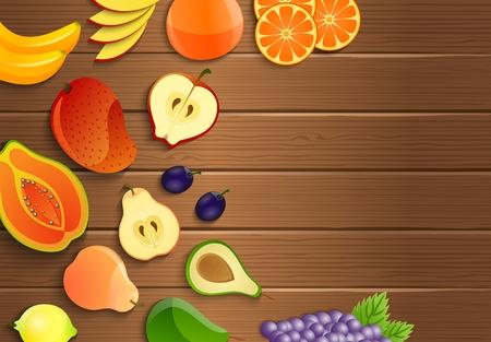 mango slice: Fresh fruits on a brown wooden background Illustration