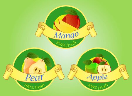 apples and oranges: Fruits labels isolated on green background