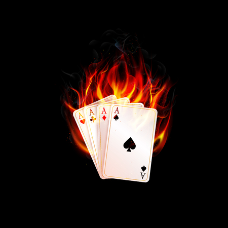 burning money: Aces in fire on a black background Illustration