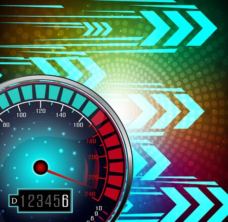 Speedometer with effect glowing background