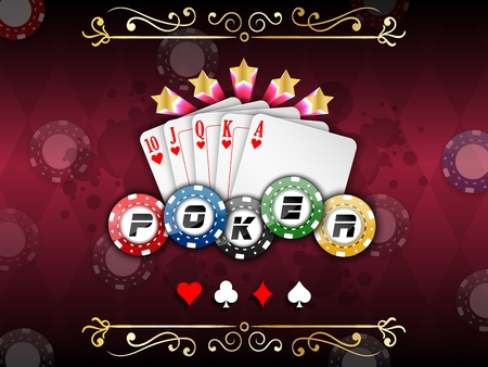 jack of hearts: Background abstract red with playing cards with poker chips