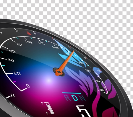 km: Speedometer and arrow on 160 Illustration