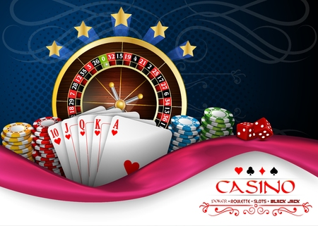 royal flush: Background blue pink with casino roulette wheel, cards and chips Illustration