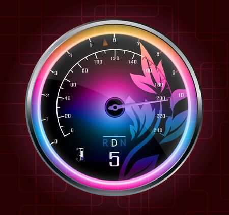 km: Speedometer abstract background