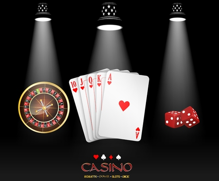 privilege: Spotlight casino design with cards, roulette wheel and dices
