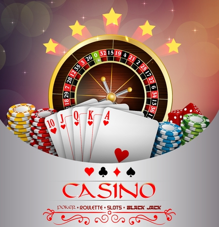 abstract design elements: Background abstract brown with casino roulette wheel, and playing cards and chips Illustration