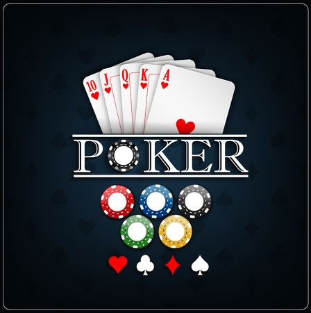 straight flush: Poker cards with casino chips on a blue background
