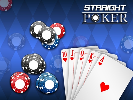 Royal flush and poker chips on a blue background