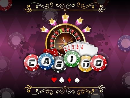 black jack: Background purple with casino roulette wheel, and playing cards and chips Illustration