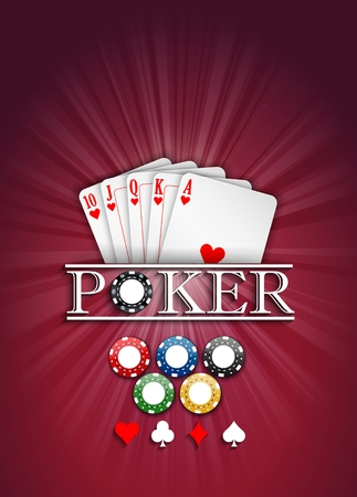 jack of hearts: Cards and casino chips on a red background