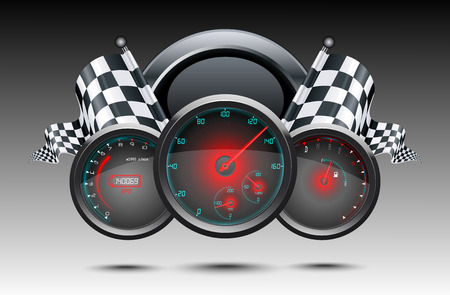 Speedometer and checkered flags