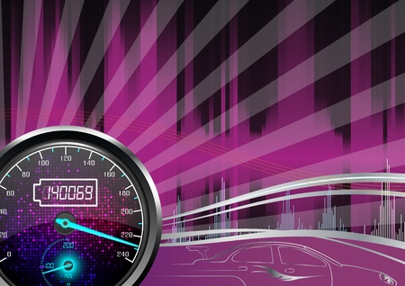 kilometer: The speedometer of a car on a purple background
