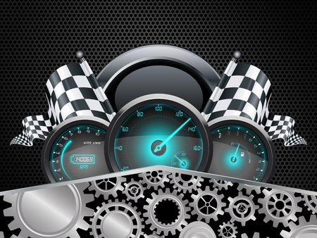 Speedometer and checkered flags with concept gears Illustration