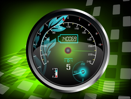 The speedometer on a green color background Illustration