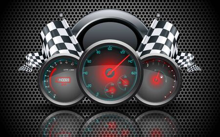fuel gauge: Speedometer, tachometer, temperature and fuel gauge on on metal perforated background