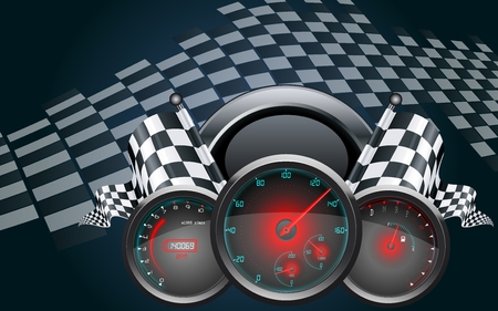 Car speedometer and checkered flags Illustration