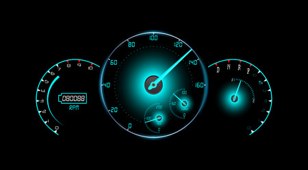 tachometer: Speedometer, tachometer, fuel and temperature gauge isolated black background Illustration