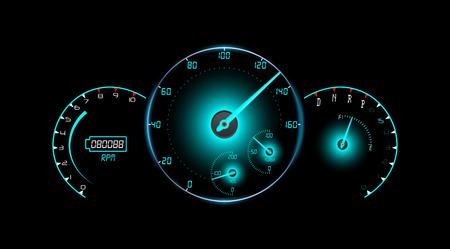 Speedometer, tachometer, fuel and temperature gauge isolated black background Illustration