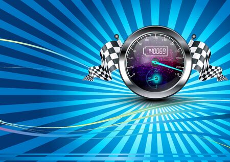 Background checkered with speedometer and checkered flags