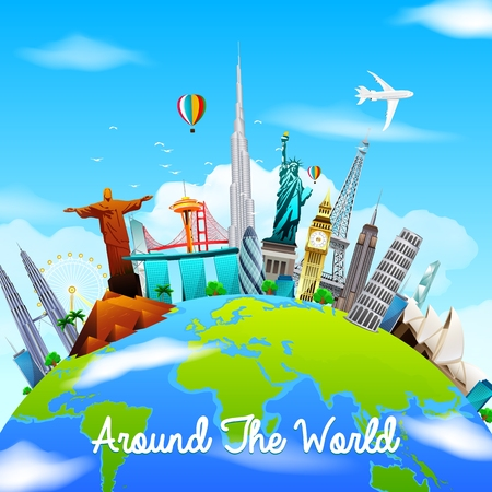 Famous monuments of the world on planet Earth on blue sky background