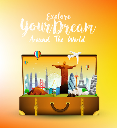 airplan: Travel monument with the brown open bag on orange background Illustration